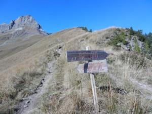 Dopo 10 minuti, palina. A destra verso la diretta sulla Cresta E, a sinistra verso il Lago Camoscere